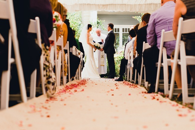 flower petals in the aisle