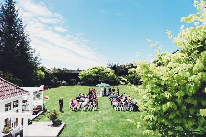 Wide angle shot of outdoor ceremony
