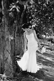 black & white bride photo