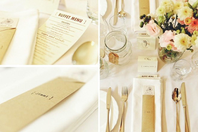 table settings and buffet menu
