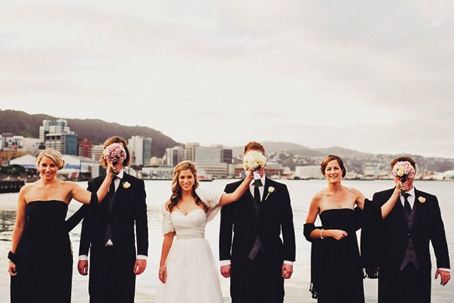 hilariously quirky bridal party photo - ha ha