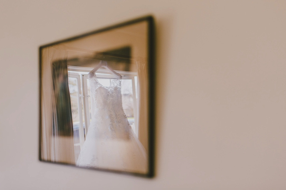 wedding dress photo in reflection