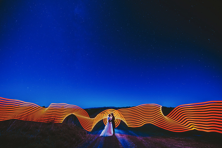 pixel stick wedding photo