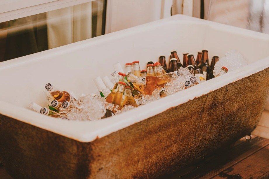 wedding drinks in bathtub